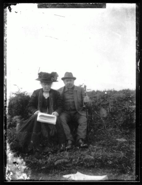 Couple Taking A Seat Outdoor, late 1890s