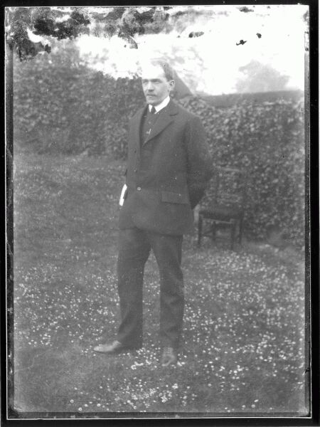 Man Standing Arms Behind Back In Garden At Belford Terrace c.1901