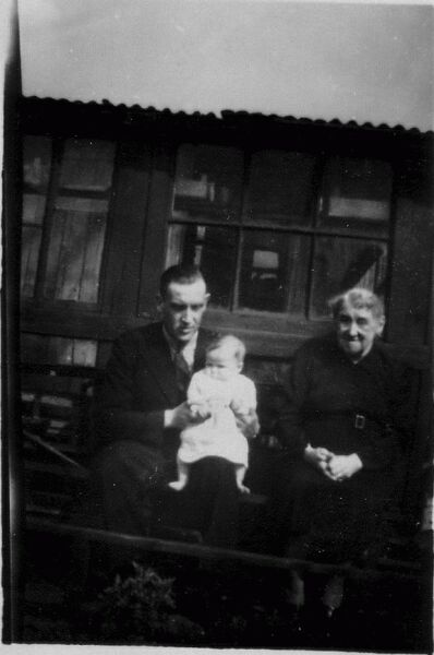 Father With His Daughter And His Mother On Allotment At Back Of Duff Street In Dalry c.1947