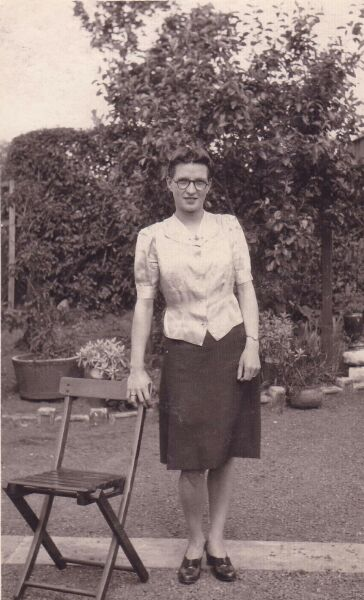 Young Woman Standing Leaning On Chair At Saughton Park, late 1930s