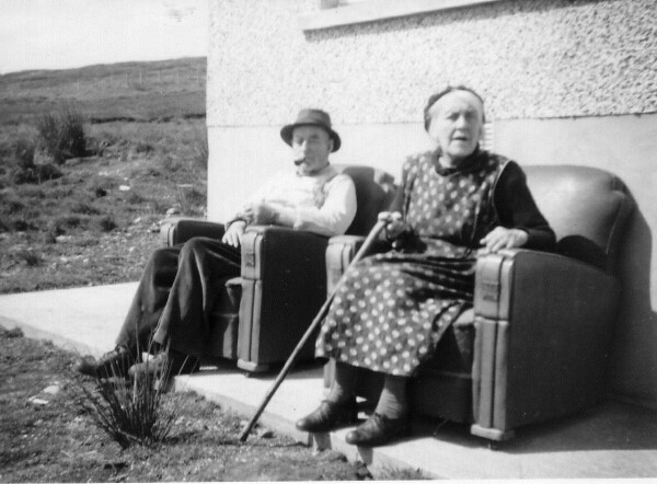 Couple Sitting Outside Their Home In Armchairs At 2 Benside, Laxdale, Isle Of Lewis c.1965