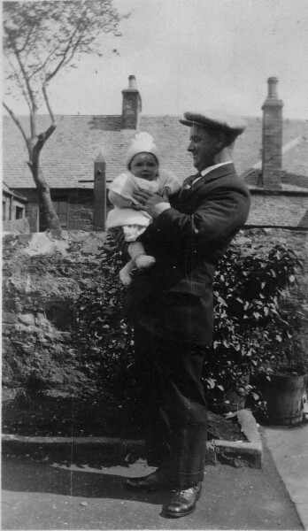 Father With His Baby Son In Back Garden Of 21 West Lorimer Place, Cockenzie 1927
