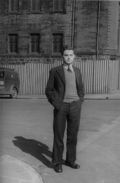 Young Man Standing Outside The Scottish College of Commerce In Pitt Street, Glasgow c.1952