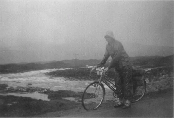 Cyclist At Sligachan Brig With Red Burn In Spate 1958
