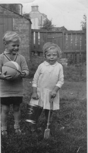 Brother And Sister At Play In Garden c.1933