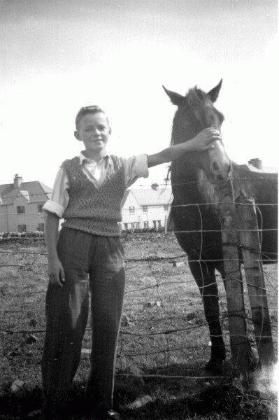 Boy On Holiday Standing With Horse At Manor Farm In Stornoway 1940s