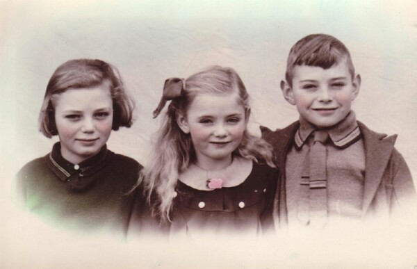 Colour Tinted Studio Portrait Brother And Sisters 1930s