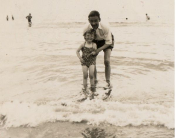 Uncle And Niece Going For A Paddle In The Sea c.1950