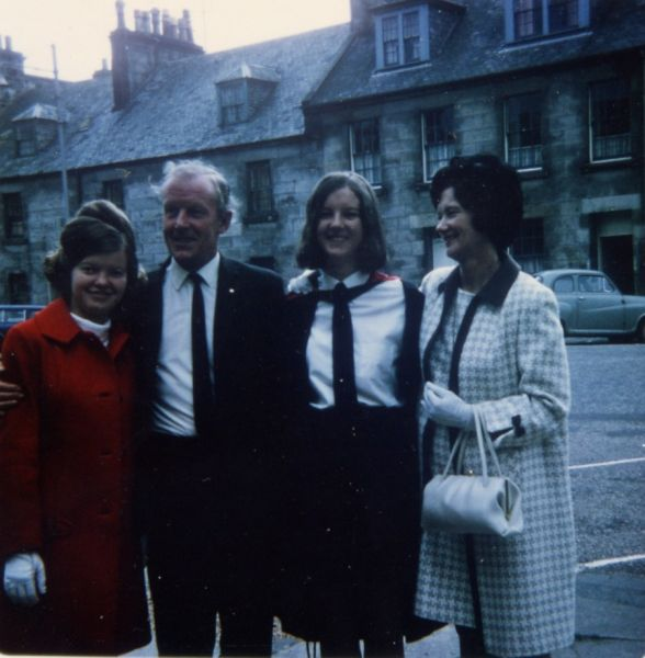 Graduate With Family On Graduation Day Celebrating Outside Younger Hall In St Andrews, 26 June 1969