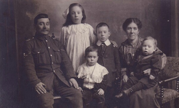 Studio Portrait Soldier Home On Leave With His Family 1918