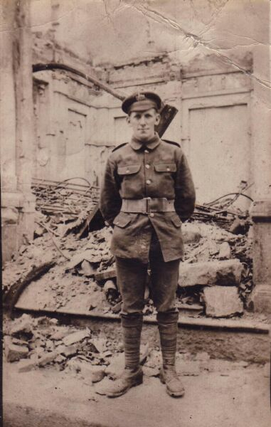 Soldier Standing By Bombed Ruins 1914-18