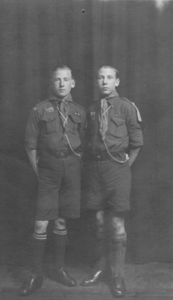 Studio Portrait Two Brothers In Scout Uniform c.1930