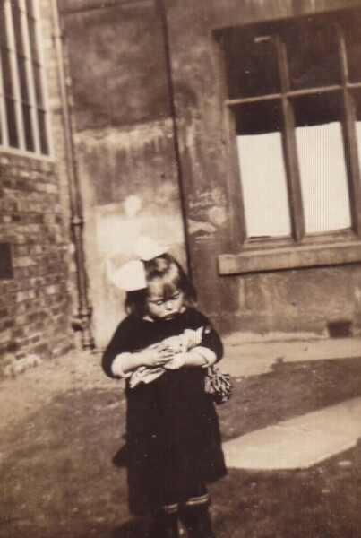Young Girl With Toy Doll In Back Green At 87 Grove Street 1923