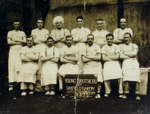 Group Portrait Young Brothers' Oakfield Bakery Workers At The Pleasance, 15 March 1933