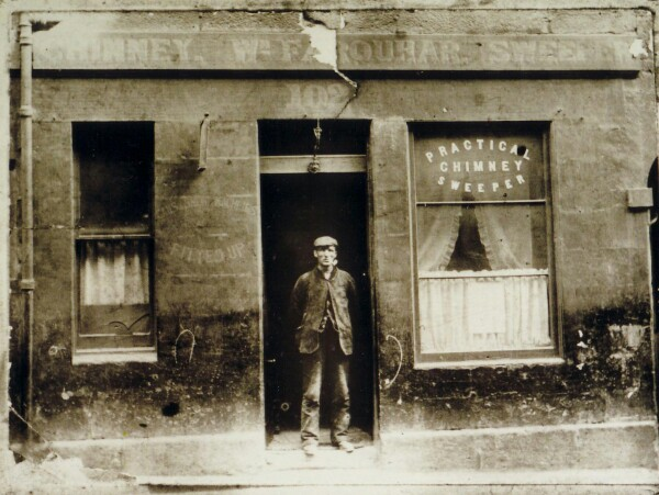 Chimney Sweep Standing Outside His Shop Doorway At 102 The Pleasance 1914