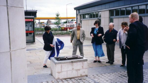 Local Councillor Unveiling Bronze Cast Model Of Westside Plaza 1997