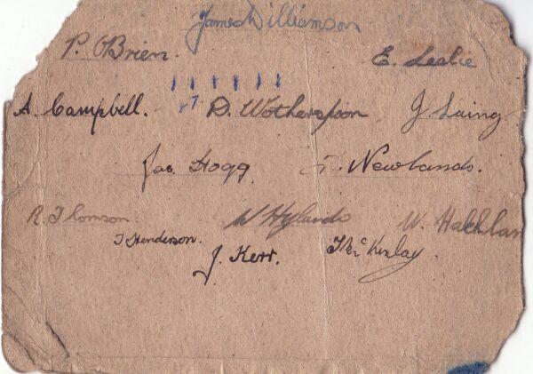 Leith Hawthorn Football Club Team Signatures 1945-46