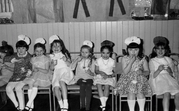 Line Of Girls Eating Ice Cream At St Mary's School Christmas Party 1970