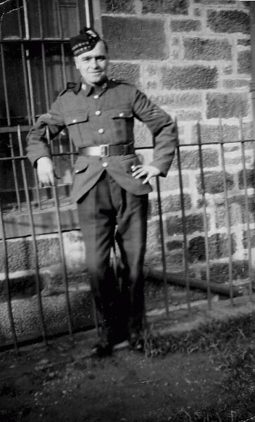 Soldier Of The Royal Scots Home On Leave Outside No.4 Dalmeny Street 1941