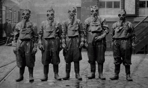 Men Training During Gas Attack Drill At Bus Depot c.1940