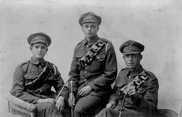 Studio Portrait Three Soldiers 1914-18