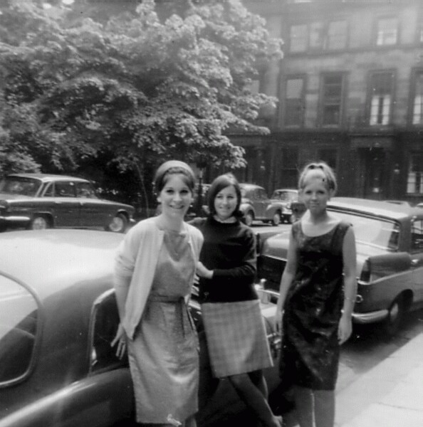 Three Young Women Standing Outside Work Offices In Rutland Square c.1964