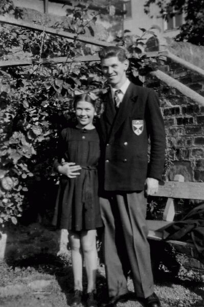 Brother And Sister Standing Outside In Their Garden At Cupar 1956