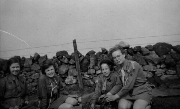 Girl Guide Patrol Building Campfire 1956
