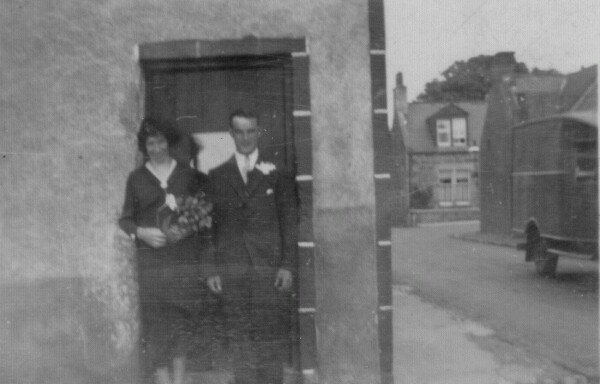 Young Couple On Their Wedding Day Outside The Commercial Hotel In Cuminestown, 9th August 1933