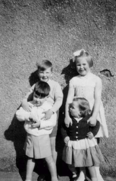 Four Young Cousins Standing Against Wall Of Home At New Housing Scheme In Oxgangs 1957