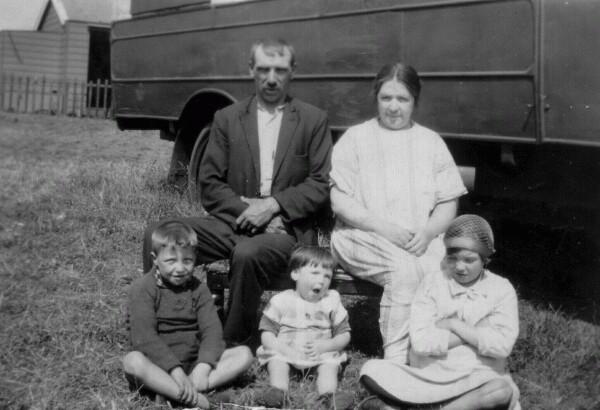 Family Sitting Outside Holiday Home At Port Seton Caravan Park 1928