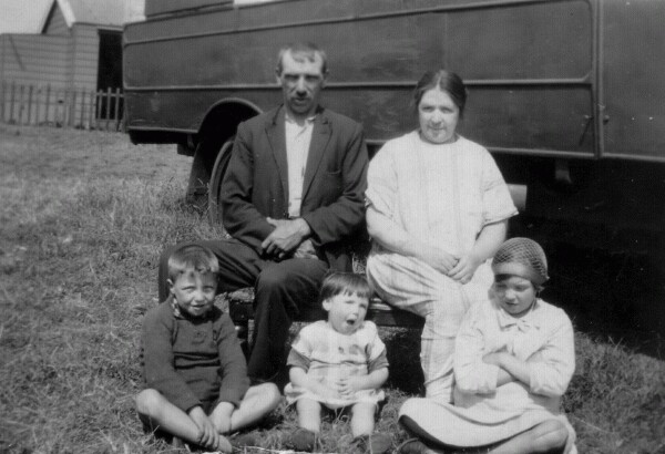 Family Sitting Outside Holiday Home At Port Seton Caravan Park 1928