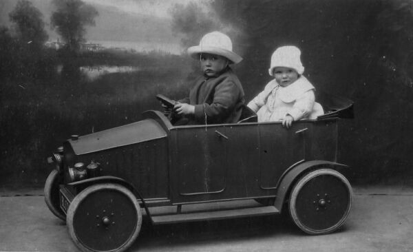 Studio Portrait Two Young Children In Pedal Car 1931