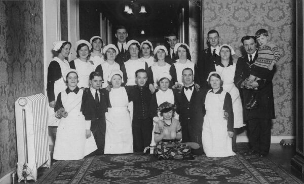 Staff At Peebles Hydro Hotel 1930s