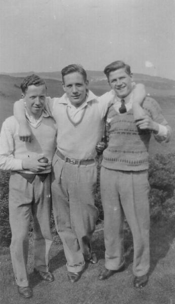Three Young Men Outdoor In The Countryside c.1936