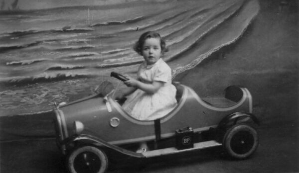 Studio Portrait Young Girl In Pedal Car 1933