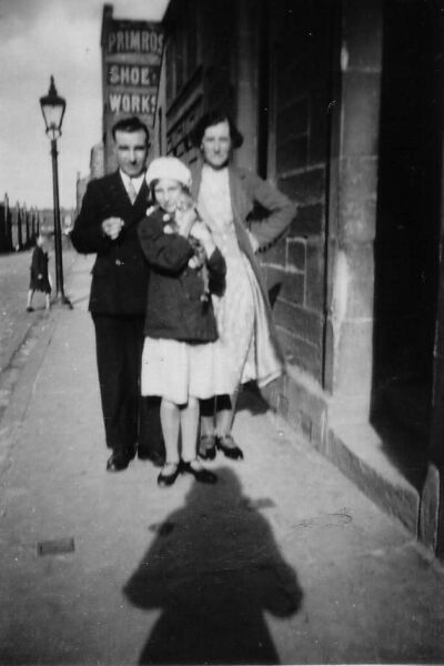 Family In Street With Pet Cat 1930