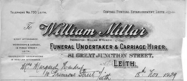 William Millar Funeral Undertaker Receipt 1929