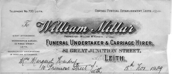 William Millar Funeral Undertaker Receipt 1929