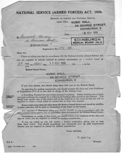 National Service Medical Examination Letter 1939