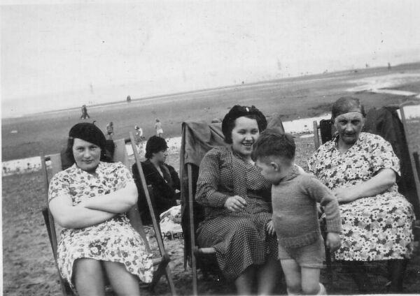 Women Sitting On Deckchairs At The Beach c.1939