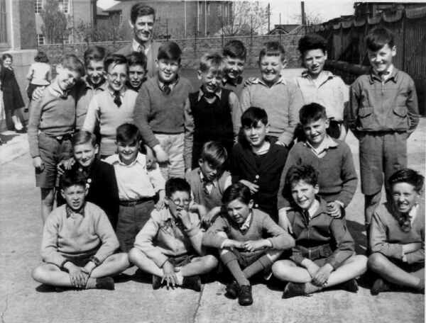 Hermitage Park Primary School Classmates In Playground With Teacher 1957
