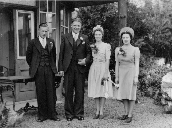 Bride And Groom With Best Man And Bridesmaid 1943