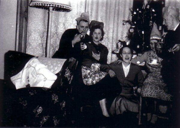 Family Celebrating Christmas 1960s