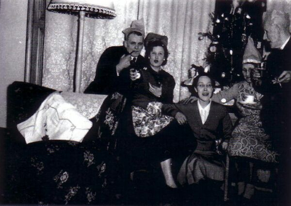 Family Celebrating Christmas 1960s