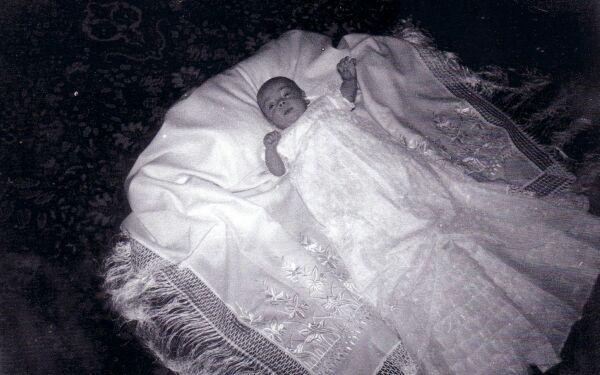 Baby In Christening Shawl 1958