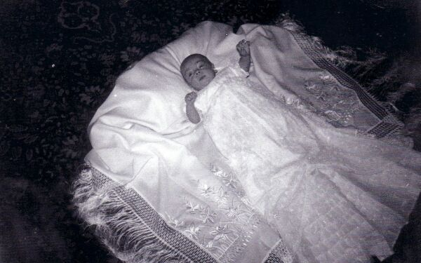 Baby In Christening Shawl 1958