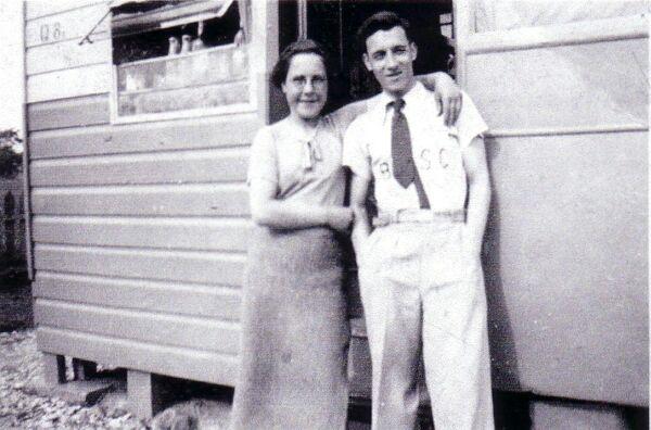 Brother And Sister Outside Caravan At Port Seton 1940s