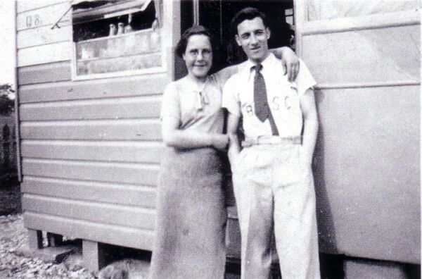 Brother And Sister Outside Caravan At Port Seton 1940s