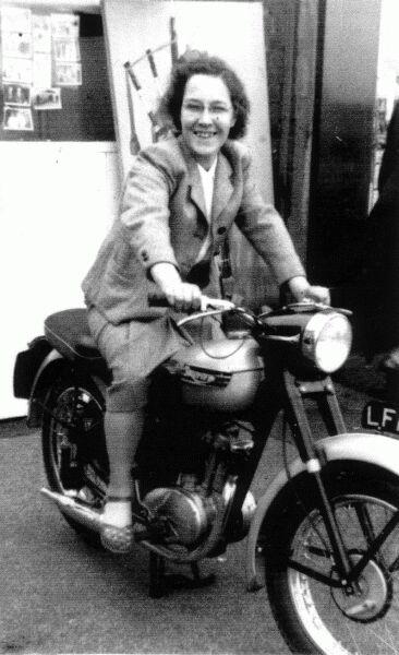 Young Woman Riding Motorbike c.1946